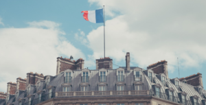 France Flag over the building